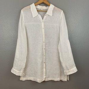 Eileen Fisher Linen Button Up White Semi Sheer Top